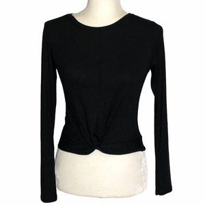 New Look Ribbed Twist Front Long Sleeve Tee Black